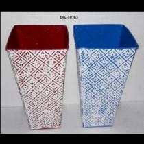 Square EMB White Wash Vase