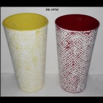 Round EMB White Wash Vase