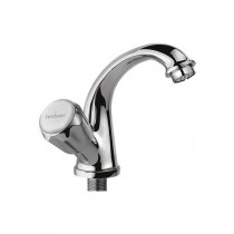 Swan neck tap with left hand operating knob
