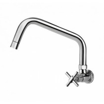 sink cock with extended swivel spout (wall mounted)
